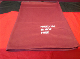 Pretty Burgundy Throw Blanket Freedom is not Free on corner 35 Inch W 51 Inch L image 3