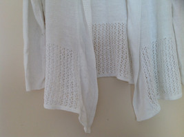 Pretty Charter Club White Open Front Long Sleeve Knit Crocheted Sweater Size L image 3