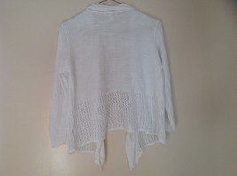 Pretty Charter Club White Open Front Long Sleeve Knit Crocheted Sweater Size L image 5