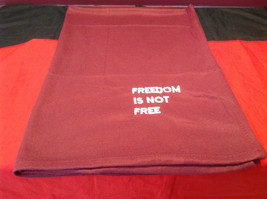 Pretty Burgundy Throw Blanket Freedom is not Free on corner 35 Inch W 51 Inch L image 4