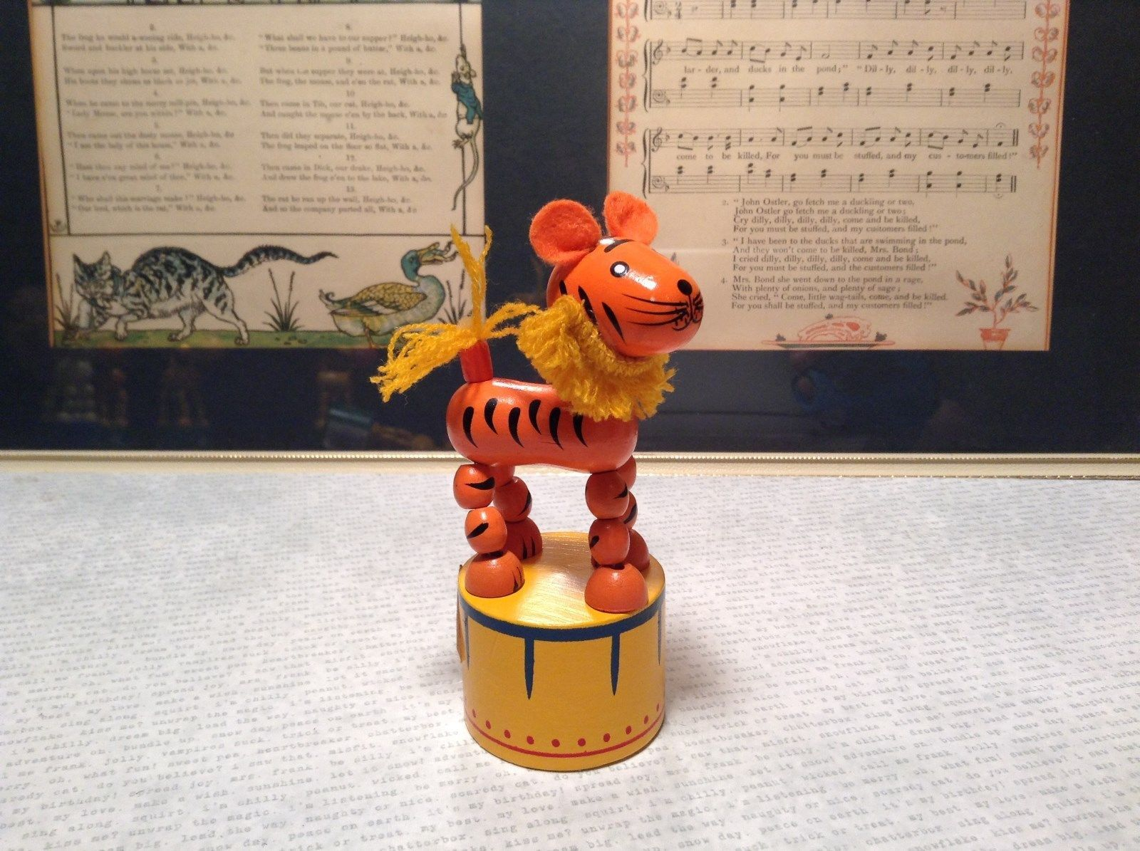 String Tiger Toy Small Childrens Wooden Push Bottom Action Figure Yellow Base