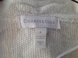 Pretty Charter Club White Open Front Long Sleeve Knit Crocheted Sweater Size L image 6