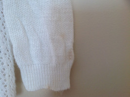 Pretty Charter Club White Open Front Long Sleeve Knit Crocheted Sweater Size L image 4