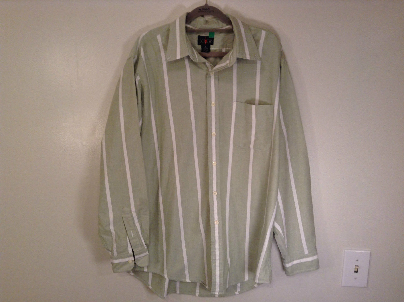 Primary image for Striped Green Long Sleeve Button Up J Crew Shirt Excellent Condition Size Large