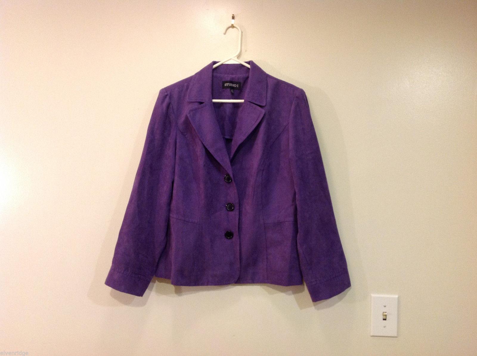 Studio 1 Violet Microfiber suede mole skin Lightweight Summer Jacket Top Size 14
