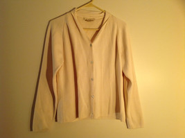 Studio 12 Cream Color Button Up V-neck Sweater Long Sleeves Size Medium