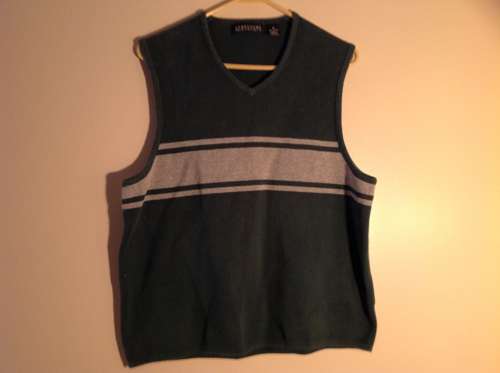 Structure Green with Gray Stripes Sweater Vest V-Neckline Size Medium