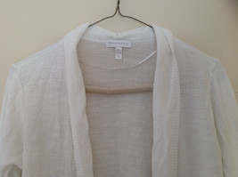 Pretty Charter Club White Open Front Long Sleeve Knit Crocheted Sweater Size L image 2
