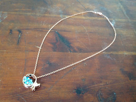 Pretty Fish Shaped 10K Gold Plated Necklace with Light Blue Crystals Adjustable  image 2