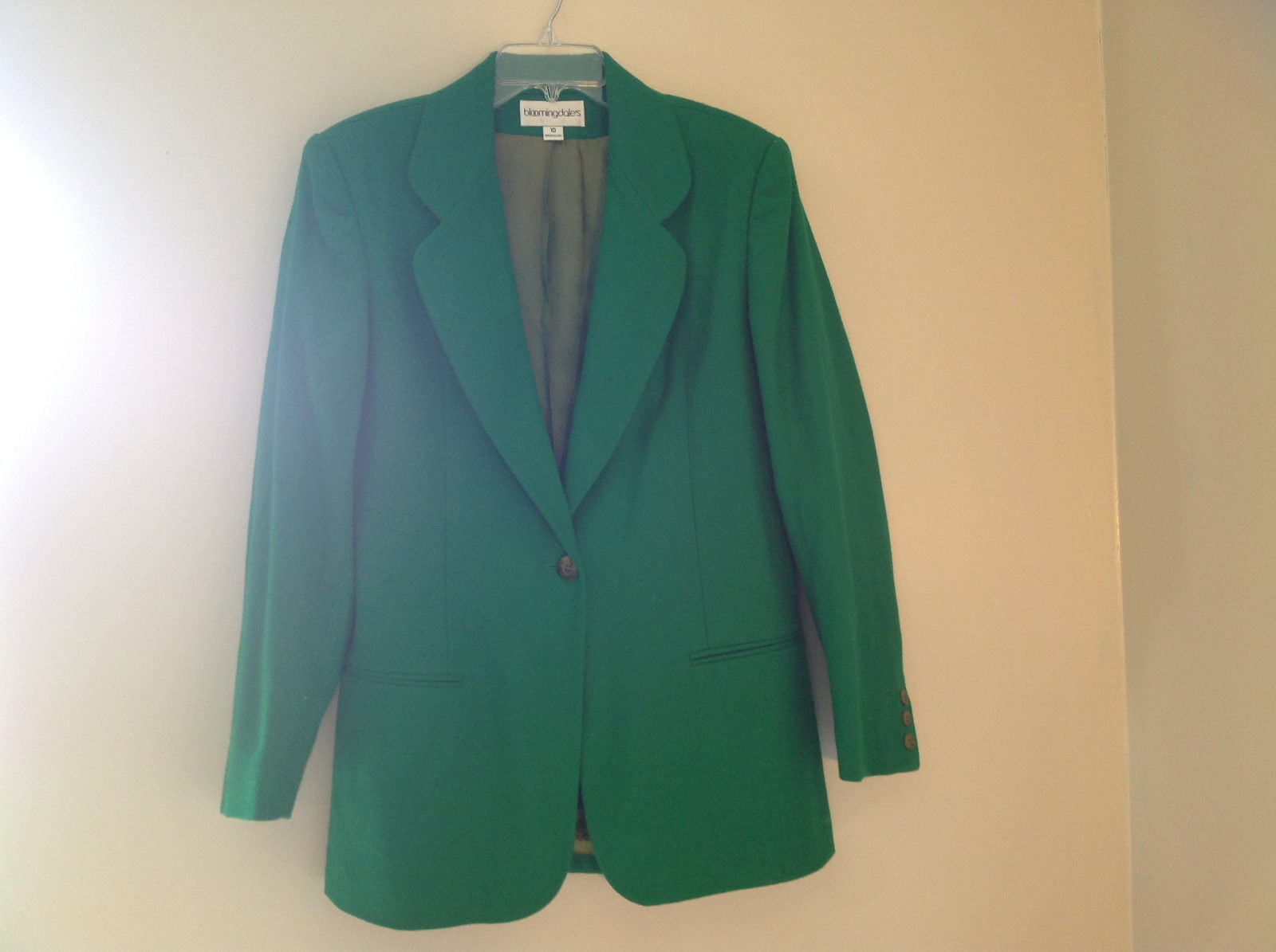 Stunning Bloomingdales Green Single Button Wool Blazer Front Pockets Size 10