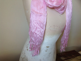 Pretty Light Pink Scrunched Style Tasseled Fashion Scarf Soft Material image 3
