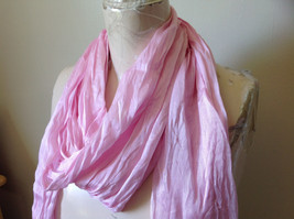 Pretty Light Pink Scrunched Style Tasseled Fashion Scarf Soft Material image 4