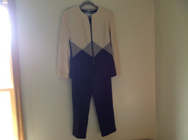 Stunning Navy Creme Pant Suit by Perceptions Elastic Waistband Size 6 image 1