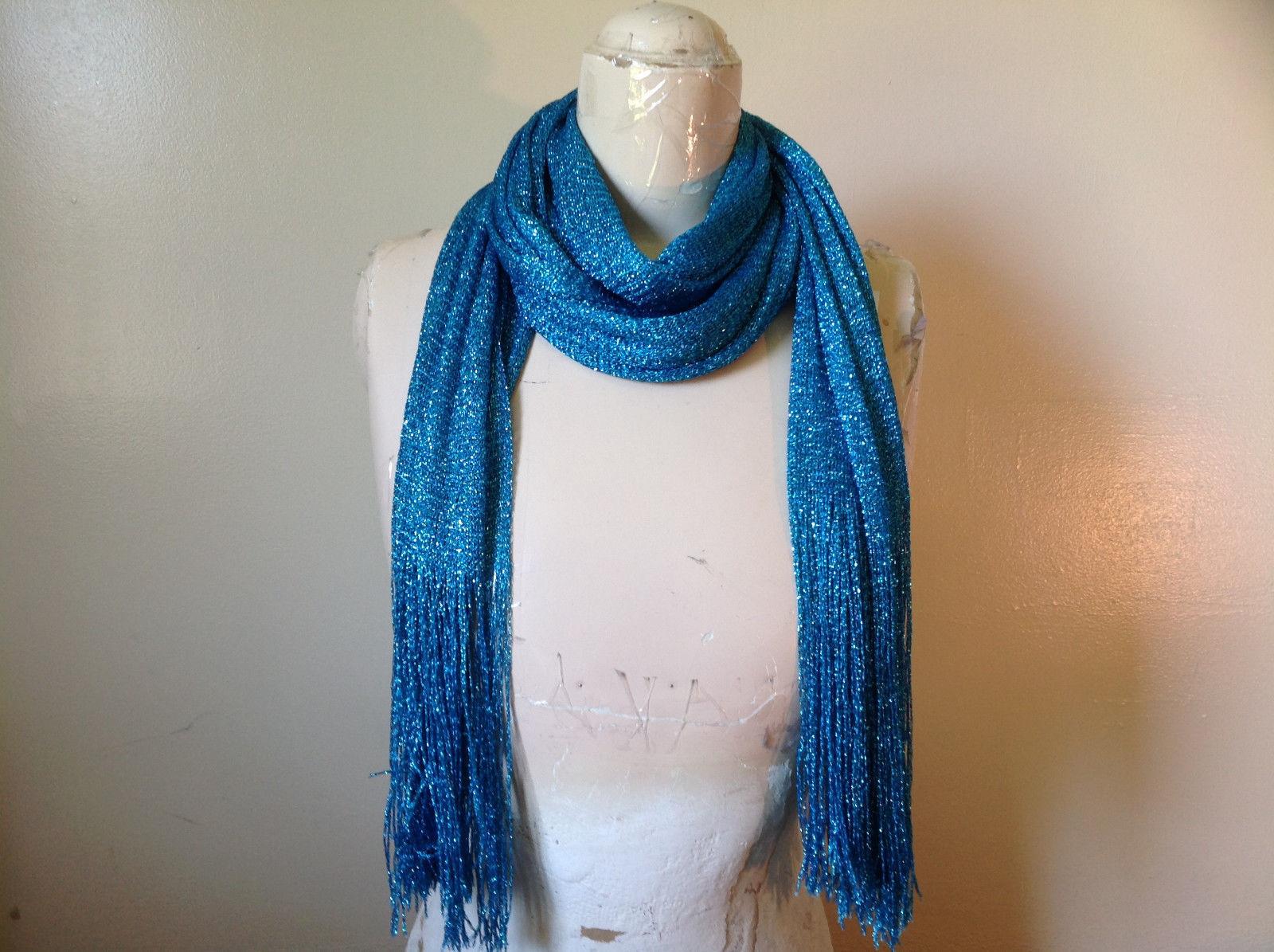 Stunning Blue Metallic Shine Tasseled Fashion Scarf Tag Says Fashion Scarf