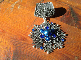 Stunning Silver Tone Snowflake with Blue Beads and Crystals Scarf Pendant
