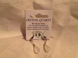 Stunning Quartz Crystal Silver Tone Drop Earrings Hook Back GeoJewelry