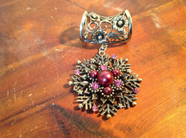 Stunning Burgundy Beads and Pink Crystals Gold Tone Snowflake Scarf Pendant