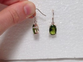 Pretty Green Oval CZ Stone Silver Dangling Earrings image 3