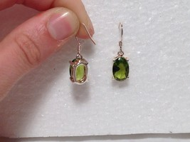 Pretty Green Oval CZ Stone Silver Dangling Earrings image 4