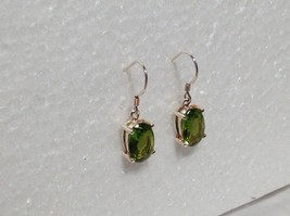Pretty Green Oval CZ Stone Silver Dangling Earrings image 2