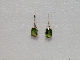 Pretty Green Oval CZ Stone Silver Dangling Earrings image 5