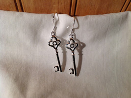 Stunning  Sterling Silver Plated Loop Design Key Dangling Earrings