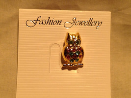 Stunning Owl with Pink Green and Blue Crystal Decorated Pin