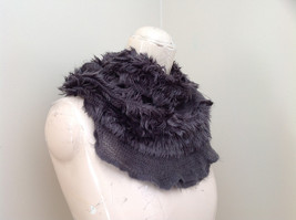 Pretty Frilly Furry Gray Infinity Scarf Length One Side 28 Inches image 2