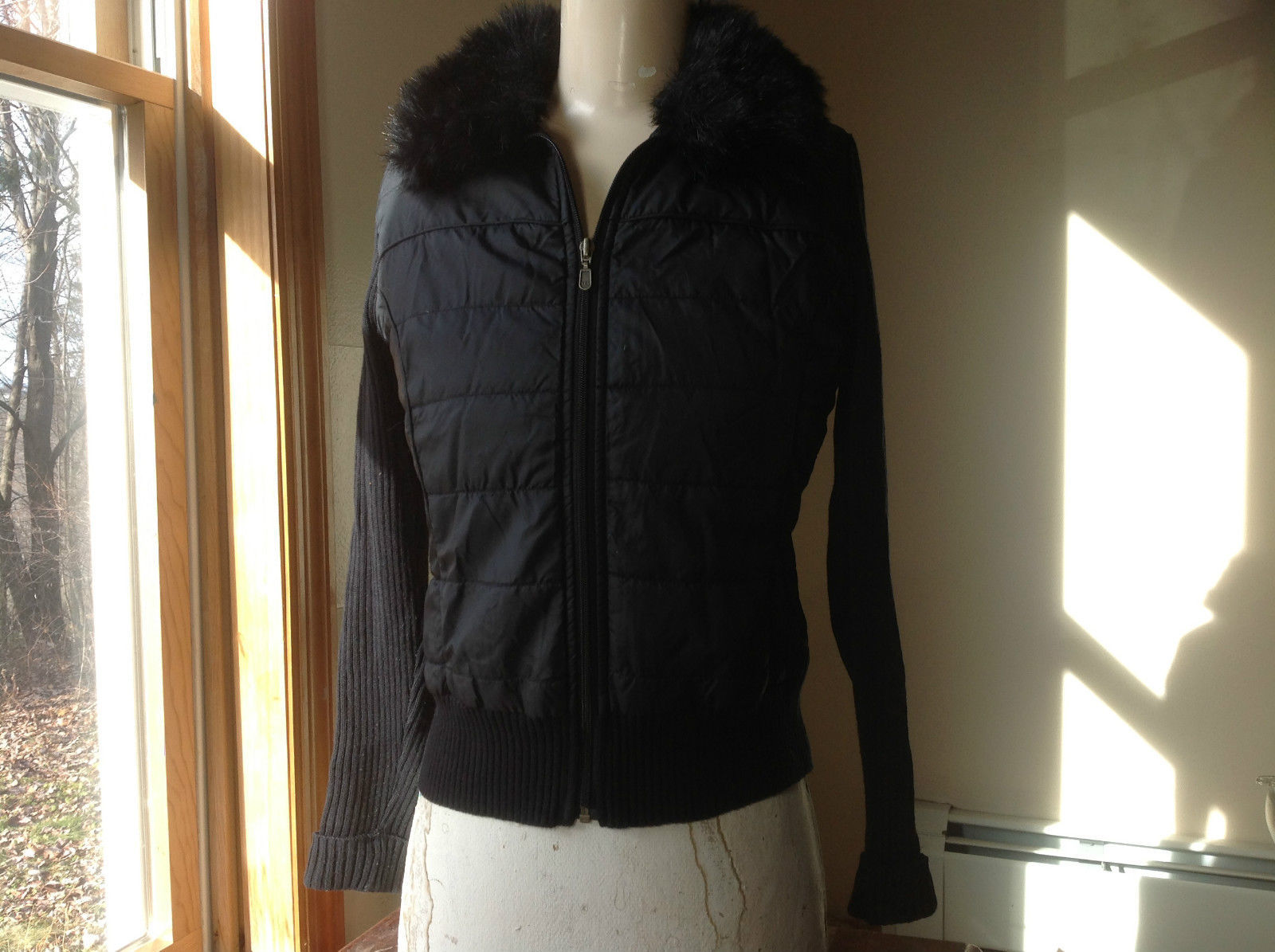 Style & Co. Black Faux Fur Collared Sweater Zip Up Jacket Size Medium