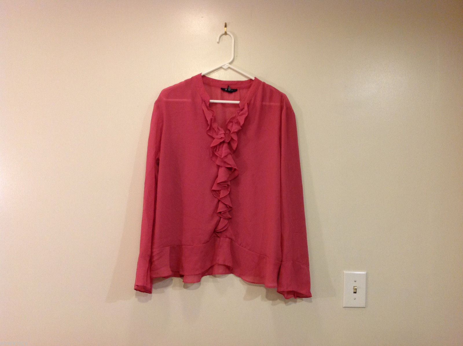 Style and Co. Soft Pink 100% polyester Blouse Top with Volants, Size 18