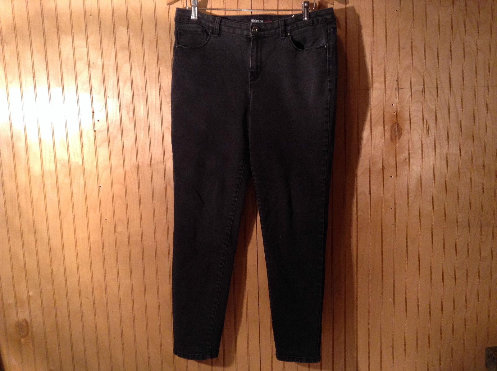 Style and Company Denim Black Jeans Curvy Skinny Legs Size 12