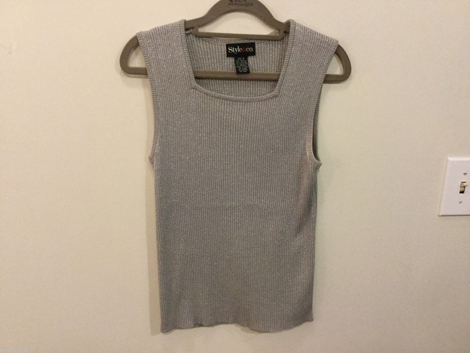 Style & Co. Silver Metallic Square neck Sleeveless Blouse Tank Top, Size S