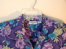 Purple Alfred Dunner Petite Size 8 Button Up Shirt Green Blue Purple Flowers image 2