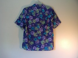 Purple Alfred Dunner Petite Size 8 Button Up Shirt Green Blue Purple Flowers image 3