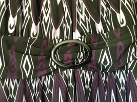 Purple Black Circular Patterned Calf Length Dress Looks Belted Size 10 image 5