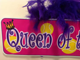 Queen of the Court Groovy Signs Metal Sign Hanger Purple Feathers Pink Purple image 3
