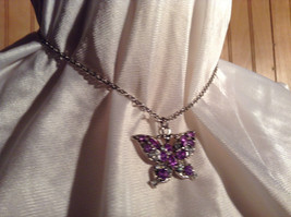 Purple Jewel Butterfly Silver Tone Pendant Necklace Slip Through Closure image 4