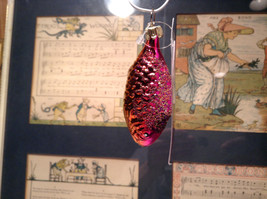 Purple and Yellow Hand Blown Fish Glass Ornament Holiday Tree image 3