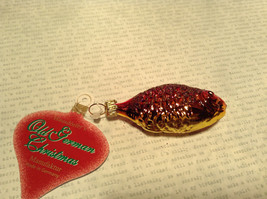 Purple and Yellow Hand Blown Fish Glass Ornament Holiday Tree image 4