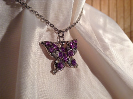 Purple Jewel Butterfly Silver Tone Pendant Necklace Slip Through Closure image 2
