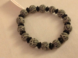 Python snake skin  stretchy bracelet with wood spacers made in USA image 2