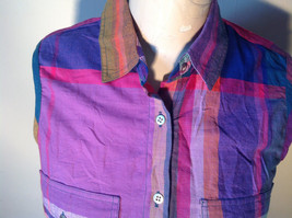 QPS Plaid Long Button Down Sleeveless Shirt 2 Front Pockets Size Small image 2