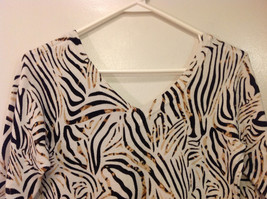 RED Zebra Animal Print Pullover Top White/Black/Brown, 3/4 sleeve, Size S image 5