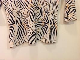 RED Zebra Animal Print Pullover Top White/Black/Brown, 3/4 sleeve, Size S image 4