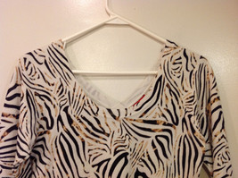 RED Zebra Animal Print Pullover Top White/Black/Brown, 3/4 sleeve, Size S image 3