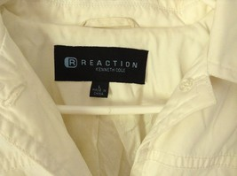 Reaction Kenneth Cole White Trench Coat Belt Buttons Shoulder Pads Size Large image 6