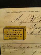 Antique Receipt 1859 Lilienthal Cavendish Tobacco 219 Washington St. NYC image 2