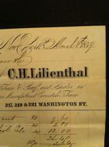 Antique Receipt 1859 Lilienthal Cavendish Tobacco 219 Washington St. NYC image 3