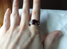 Red CZ Stone with Cutout Design Stainless Steel Ring Size 8.5 image 5