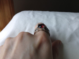 Red CZ Stone with Cutout Design Stainless Steel Ring Size 8.5 image 7